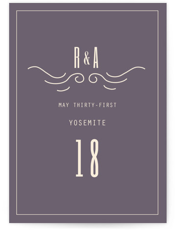 This is a portrait bold typographic, destination, hand drawn, modern, purple Table Numbers by Hannah Williams called Mountain Affair with Standard printing on Luxe Museum Board in Classic Flat Card format. Table numbers come in a flat or folded format. ...