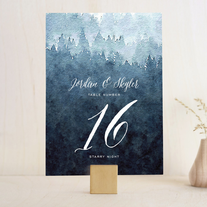 """Mountain Retreat"" - Destination, Modern Wedding Table Numbers in Evening Sky by Design Lotus."