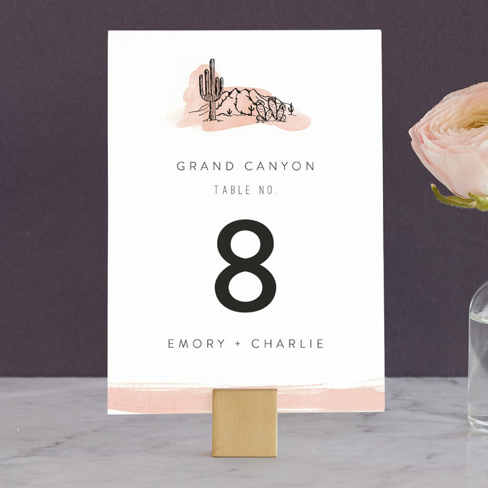 """""""Painted Desert"""" - Modern, Destination Wedding Table Numbers in Coral by Amy Kross."""