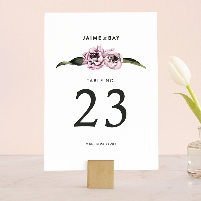 """""""Peony"""" - Floral & Botanical Wedding Table Numbers in Ice Mist by Cass Loh."""