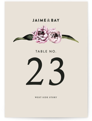 This is a portrait floral, beige Table Numbers by Cass Loh called Peony with Standard printing on Signature in Classic fold over (blank inside) format. Table numbers come in a flat or folded format. Select from our Signature, Premium 100% ...