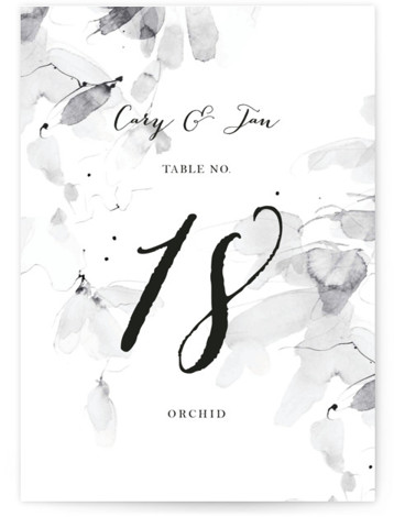 This is a portrait botanical, painterly, ivory, black and white, grey Table Numbers by Kelly Ventura called Petale with Standard printing on Luxe Museum Board in Classic Flat Card format. Table numbers come in a flat or folded format. Select ...