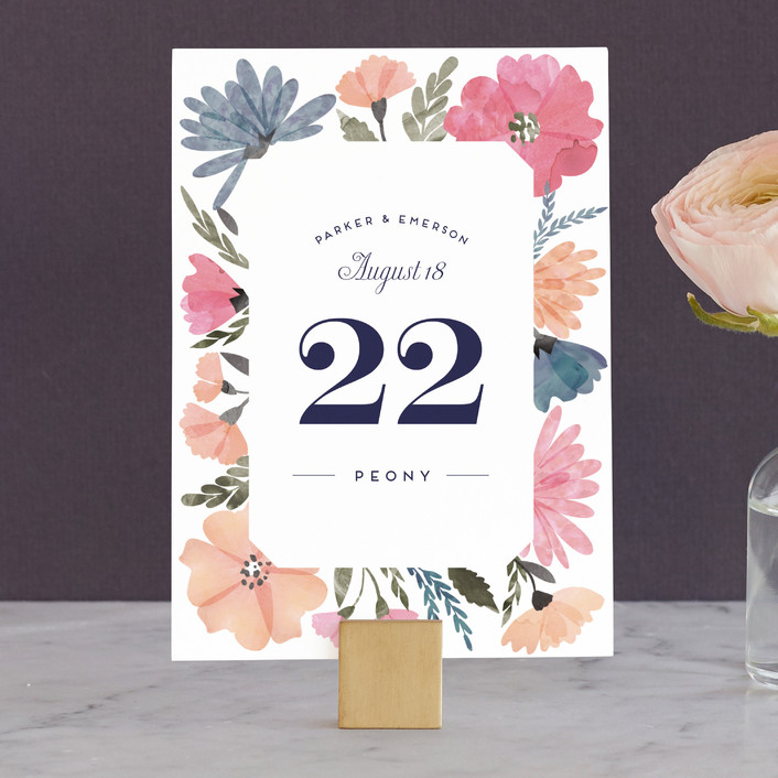"""Romantic Watercolor Flora"" - Floral & Botanical Wedding Table Numbers in Dhalia by Petra Kern."