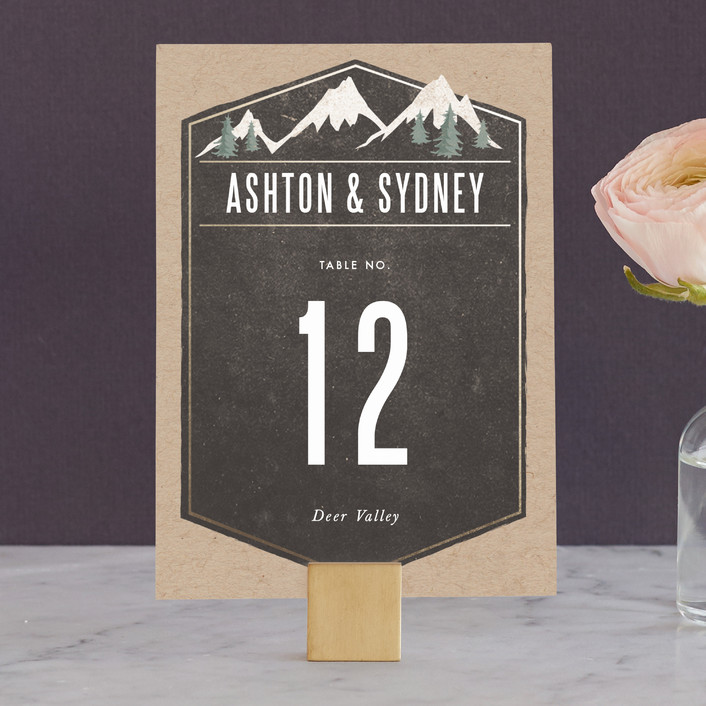 """""""Rustic Mountain"""" - Rustic, Destination Wedding Table Numbers in Charcoal by Karidy Walker."""