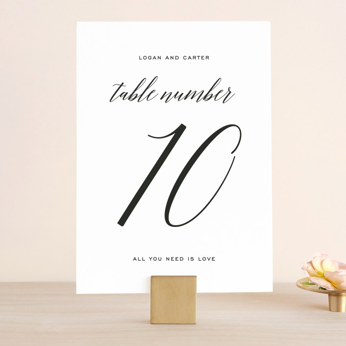 """Someone Like You"" - Wedding Table Numbers in Tuxedo by Design Lotus."