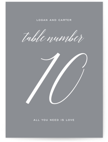 This is a portrait bold and typographic, simple and minimalist, grey Table Numbers by Design Lotus called Someone Like You with Standard printing on Luxe Museum Board in Classic Flat Card format. Table numbers come in a flat or folded ...