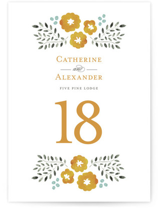 Watercolor Wildflowers Table Numbers