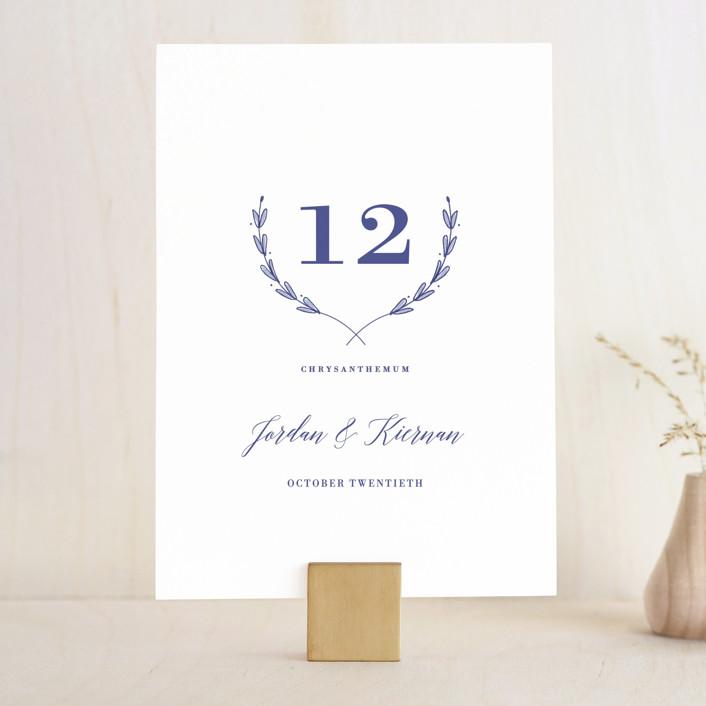 """""""United"""" - Wedding Table Numbers in Cobalt by Susan Brown."""