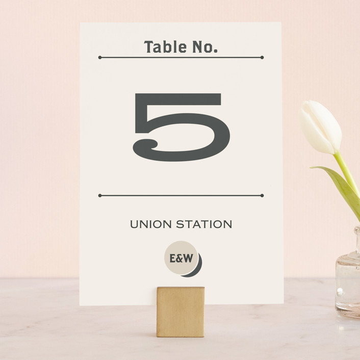 """""""A Blessed Union"""" - Modern, Whimsical & Funny Wedding Table Numbers in Cream by GeekInk Design."""