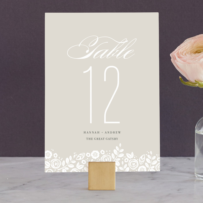"""""""White Shadows"""" - Classical, Floral & Botanical Wedding Table Numbers in Champagne by Jessica Williams."""