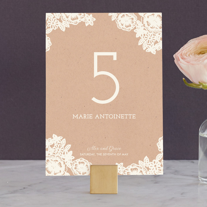 """""""Lace and Kraft"""" - Hand Drawn, Floral & Botanical Wedding Table Numbers in Kraft by Katharine Watson."""