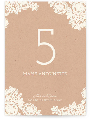 Lace and Kraft Table Numbers