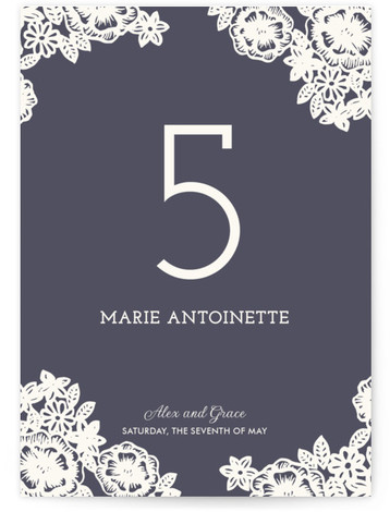 This is a portrait classical, floral, formal, hand drawn, rustic, vintage, blue Table Numbers by Katharine Watson called Lace and Kraft with Standard printing on Luxe Museum Board in Classic Flat Card format. Table numbers come in a flat or ...