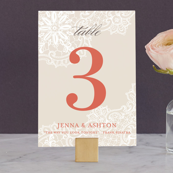 """""""White Lace"""" - Classical, Vintage Wedding Table Numbers in Coral Rose by Lauren Chism."""