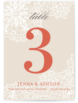 White Lace Table Numbers