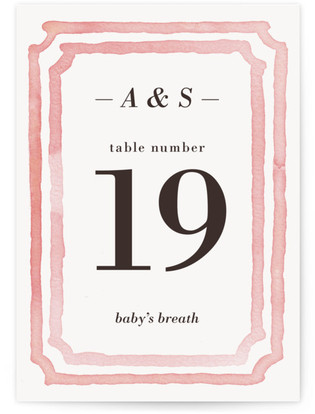 Watercolor Frame Table Numbers