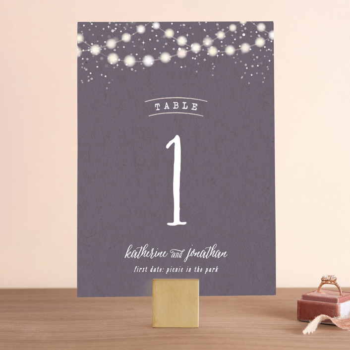 """""""Garden Lights"""" - Rustic, Hand Drawn Wedding Table Numbers in Plum by Hooray Creative."""