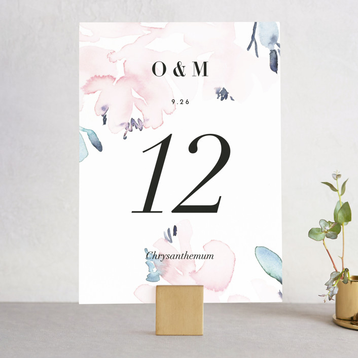 """Florista Modernista"" - Wedding Table Numbers in Azalea by Petra Kern."