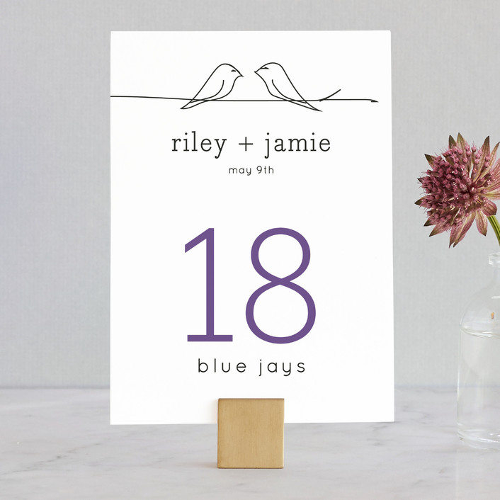 """Birds of a Feather"" - Whimsical & Funny Wedding Table Numbers in Plum by R studio."