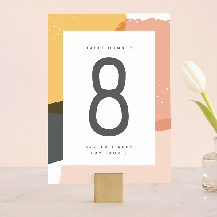 """Brush"" - Modern Wedding Table Numbers in Carnation by Half Pint Studio."
