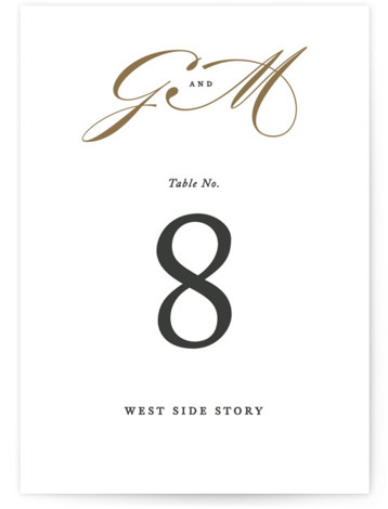 This is a portrait bold and typographic, classic and formal, white, grey, gold Table Numbers by Jennifer Postorino called Flourish with Standard printing on Luxe Museum Board in Classic Flat Card format. Table numbers come in a flat or folded ...