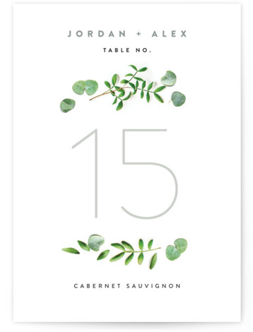 This is a botanical, grey Table Numbers by Ariel Rutland called Leaf Arc with Standard printing on Luxe Museum Board in Classic Flat Card format. Table numbers come in a flat or folded format. Select from our Signature, Premium 100% ...