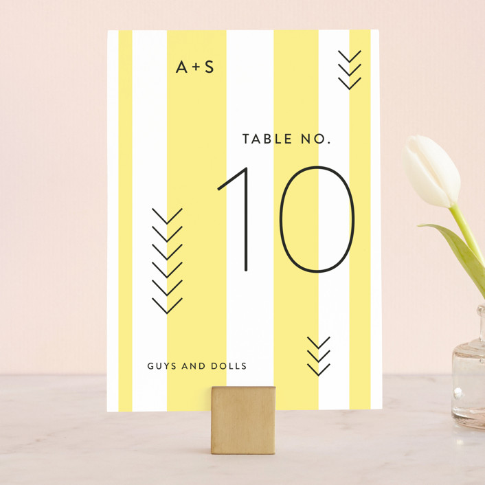 """""""Direction"""" - Modern Wedding Table Numbers in Lemon by Owl and Toad."""