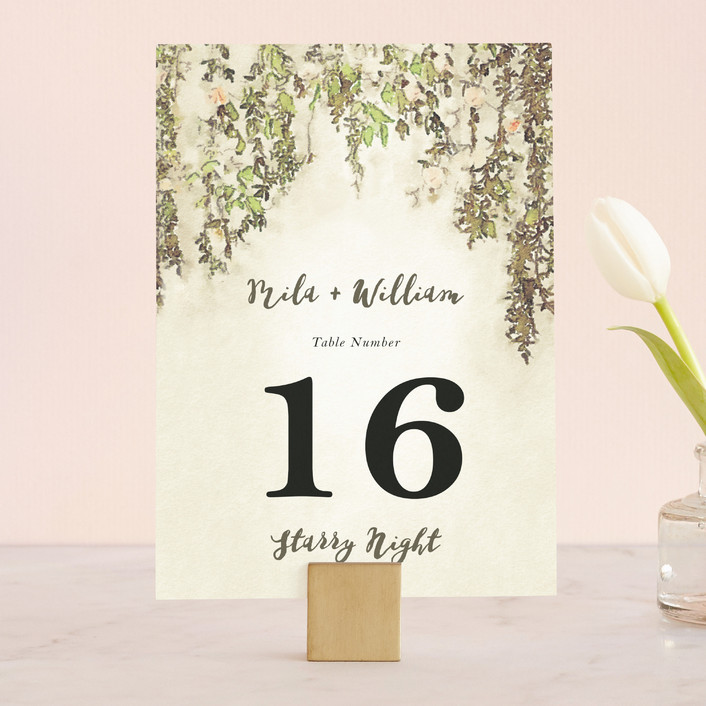 """English Countryside"" - Simple, Rustic Wedding Table Numbers in Moss by Design Lotus."