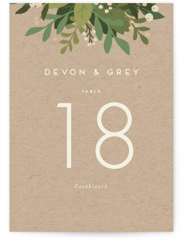 This is a portrait floral, modern, rustic, brown, green Table Numbers by Jennifer Wick called Laurel of Greens with Standard printing on Luxe Museum Board in Classic Flat Card format. Table numbers come in a flat or folded format. Select ...