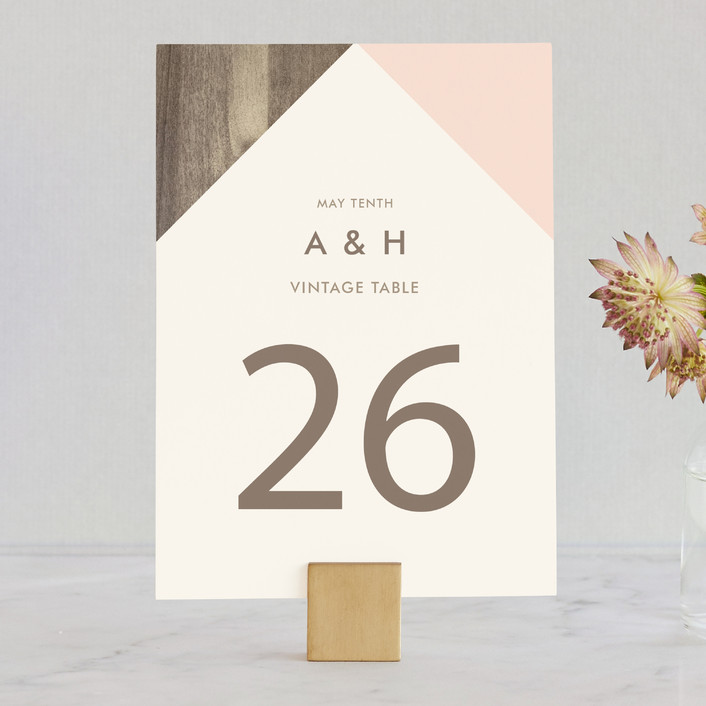 """""""Modern Barn Wood"""" - Rustic Wedding Table Numbers in Rose by Johanna McShan."""