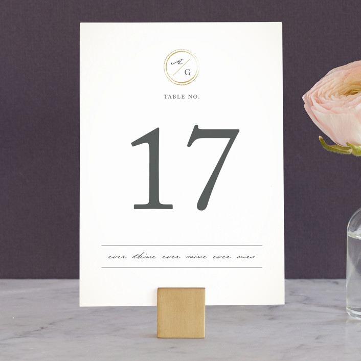 """""""Monogram Circle Stamp"""" - Wedding Table Numbers in Antique White by fatfatin."""