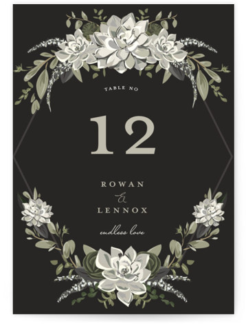 This is a grey, white Table Numbers by Susan Moyal called Echeveria with Standard printing on Signature in Classic fold over (blank inside) format. Table numbers come in a flat or folded format. Select from our Signature, Premium 100% Recycled, ...