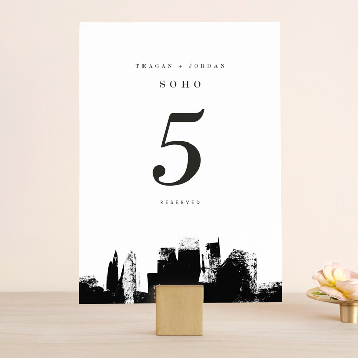 """Urban"" - Wedding Table Numbers in Onyx by Lori Wemple."