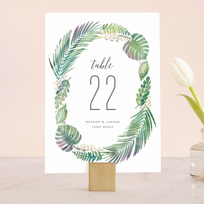 """""""Tropical Foliage"""" - Wedding Table Numbers in Fern by Hooray Creative."""