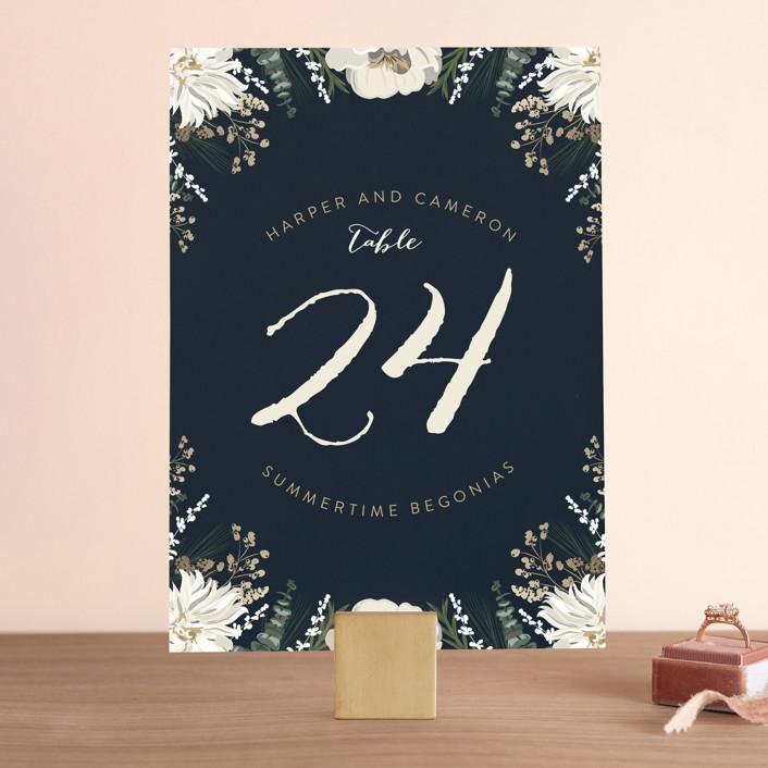 """Peonies & Berries"" - Floral & Botanical Wedding Table Numbers in Winter White by Susan Moyal."