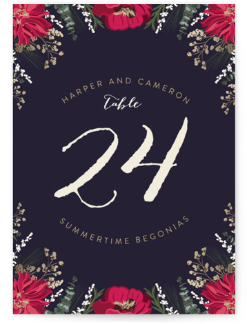 This is a portrait floral, red, blue Table Numbers by Susan Moyal called Peonies & Berries with Standard printing on Luxe Museum Board in Classic Flat Card format. Table numbers come in a flat or folded format. Select from our ...