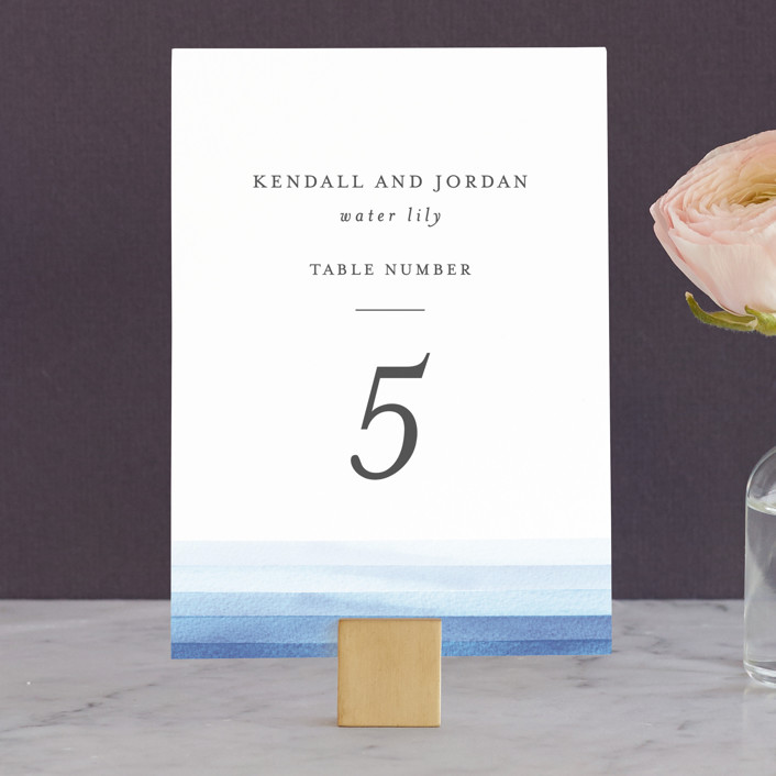 """""""Watercolour Stripe"""" - Wedding Table Numbers in Azure by Bethan."""