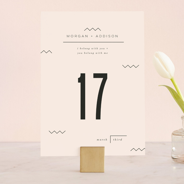 """""""Adagio"""" - Abstract, Modern Wedding Table Numbers in Lilac by Moglea."""