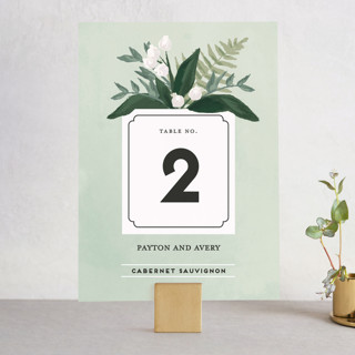 botanical name plate wedding table numbers by shin minted