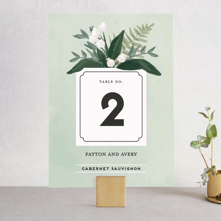 """""""Botanical Name Plate"""" - Floral & Botanical, Rustic Wedding Table Numbers in Sage by Shiny Penny Studio."""