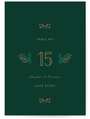Holiday Wedding Table Numbers