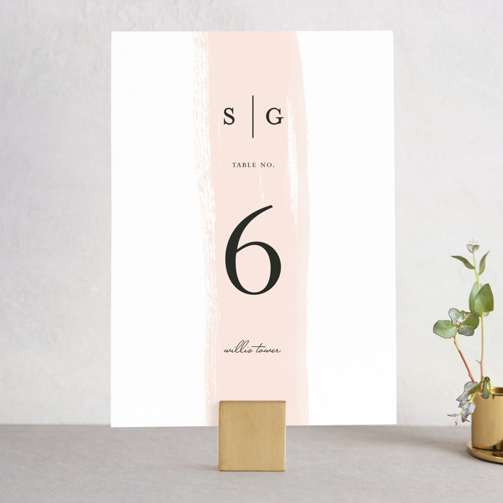 """Single Swath"" - Wedding Table Numbers in Blush by Angela Marzuki."