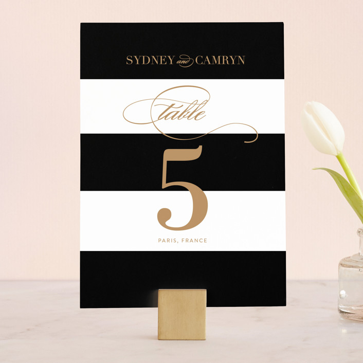 """Fashion District"" - Wedding Table Numbers in Black Tie by Jill Means."