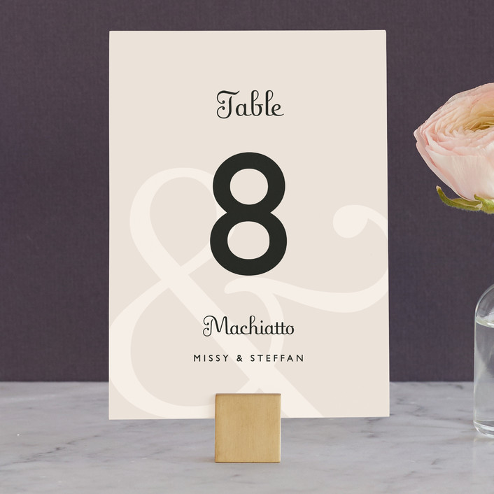 """Ampersand"" - Classical Wedding Table Numbers in Taupe by Lauren Chism."