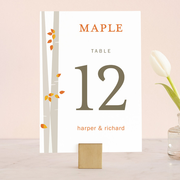 """""""Into the Woods"""" - Modern Wedding Table Numbers in Orange by Robin Ott."""