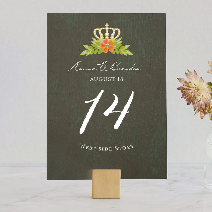 """""""Royal Monogram"""" - Monogrammed, Classical Wedding Table Numbers in Tangerine by Griffinbell Paper Co.."""
