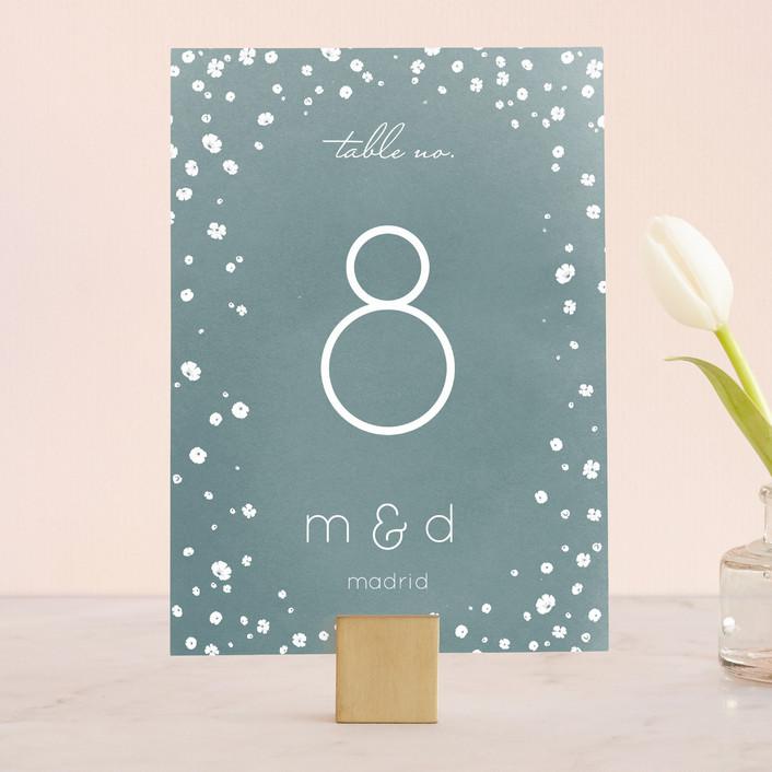 """""""Floral Rain"""" - Elegant, Modern Wedding Table Numbers in Teal by Aspacia Kusulas."""