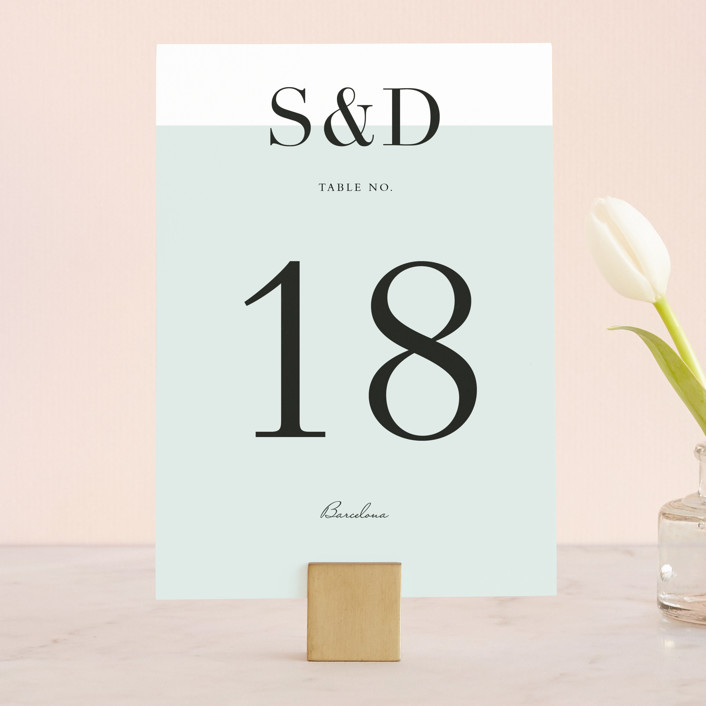 """""""So Fresh"""" - Simple, Modern Wedding Table Numbers in Mint by Stacey Meacham."""