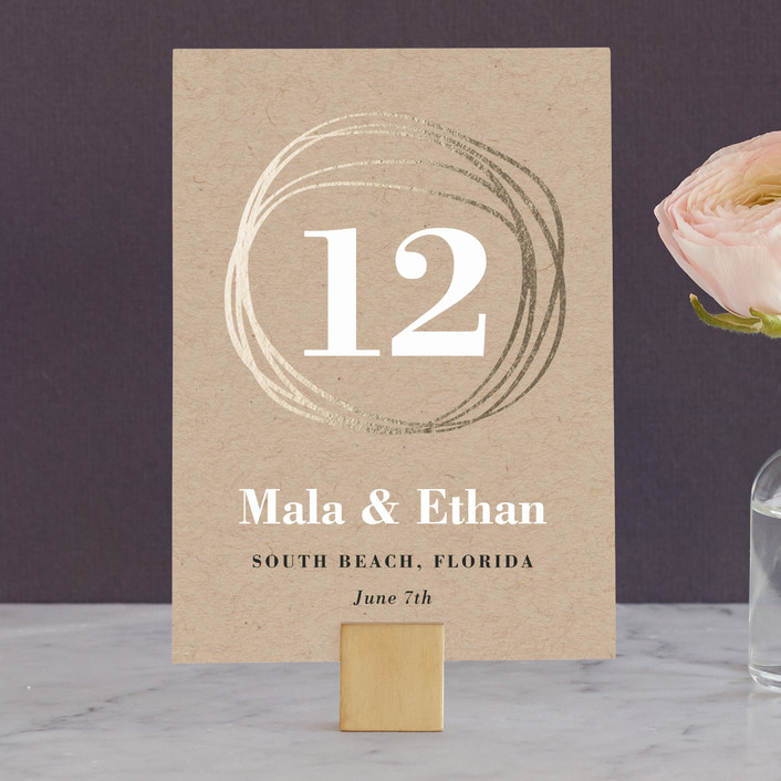 """The Big Day"" - Modern, Abstract Wedding Table Numbers in Golden by R studio."