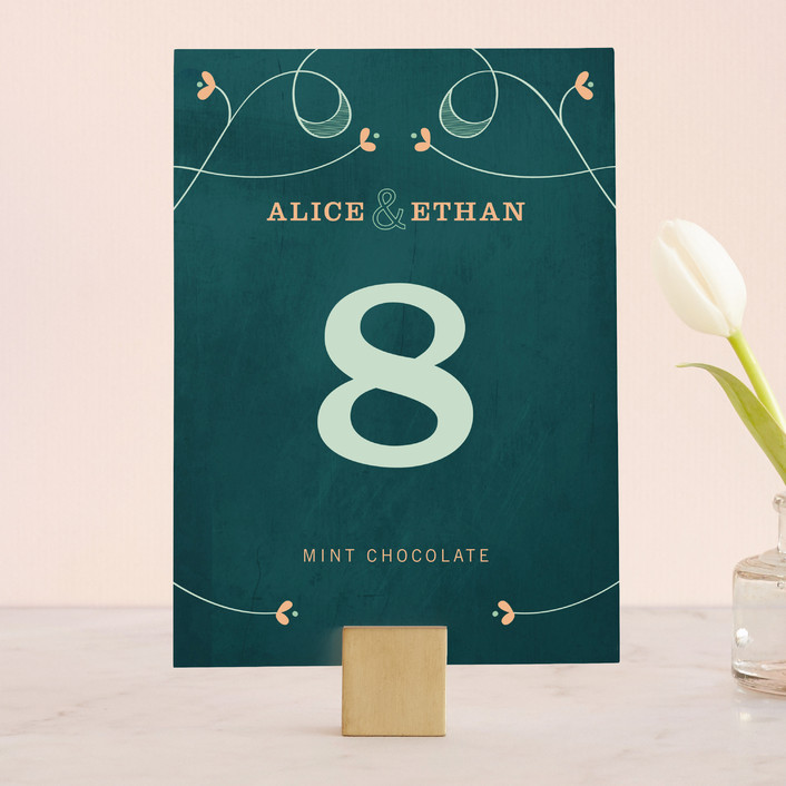 """""""Love Grows"""" - Bold typographic, Hand Drawn Wedding Table Numbers in Teal by Aspacia Kusulas."""